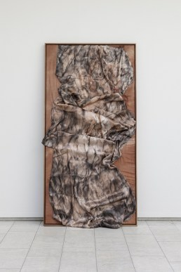 ANE GRAFF Through Stone 2015 Hand dyed silk on canvas / walnut wood frame Dimensions: 203,5 x 103,5 x 4 cm Courtesy the artist and APALAZZOGALLERY