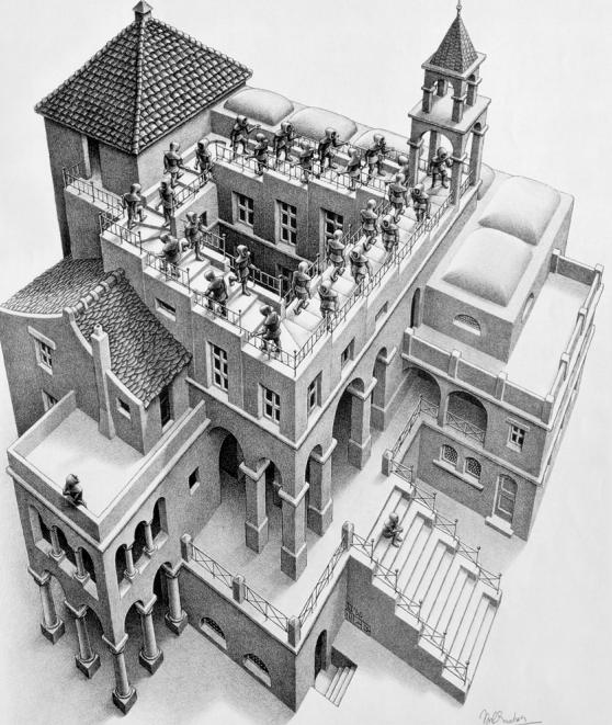 M.C. Escher, Ascendente e Discendente,1960. Litografia, 355x285 mm.