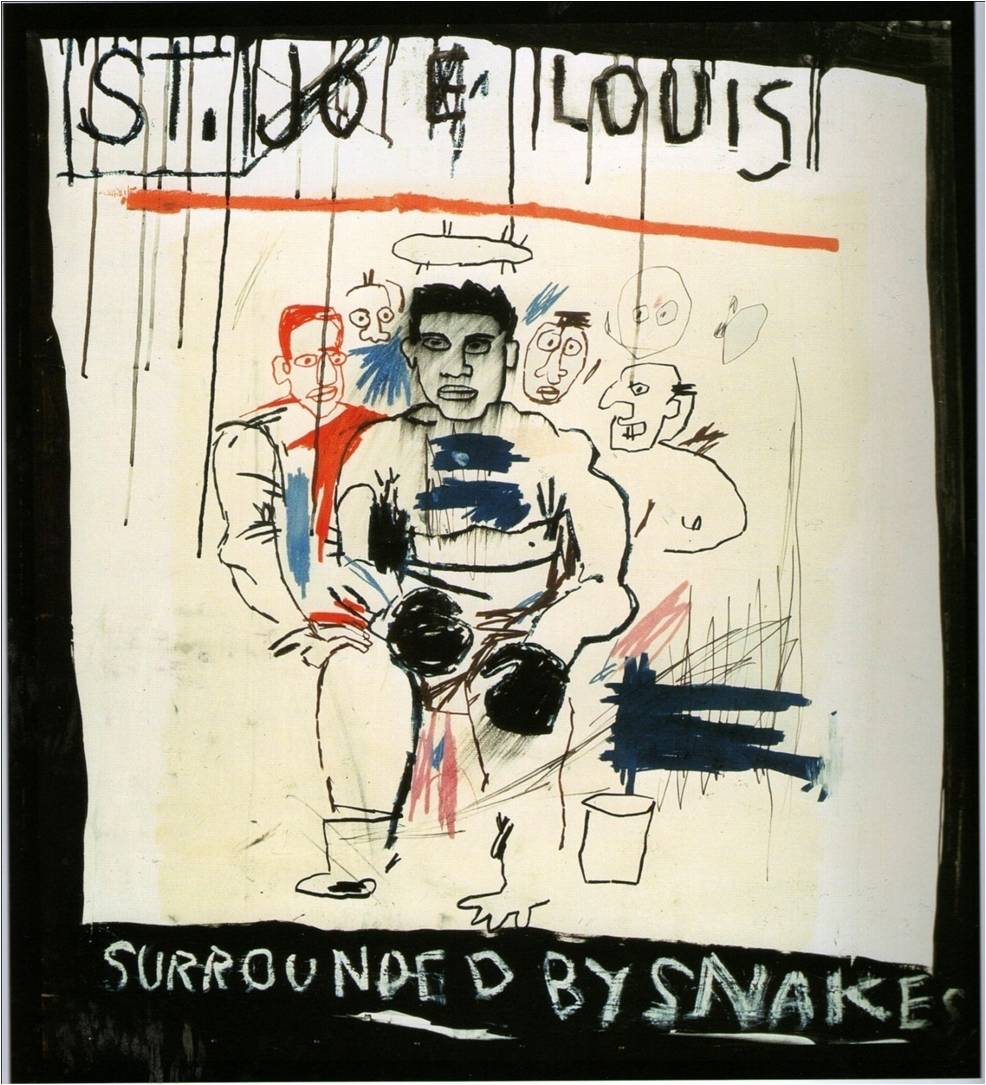 St. Joe Luis Surrounded by snakes - Basquiat 1982
