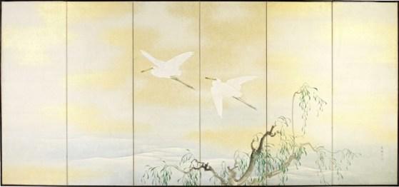 Nishiyama Kan ei_Paravento giapponese a sei ante, scena estiva con salice ed egrette in volo_ fine XIX secolo__175x378 cm_courtesy Paraventi Giapponesi Galleria Nobili_Milano