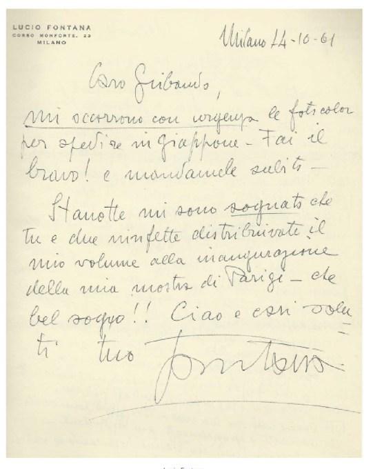 Lucio Fontana, Milano, 1961