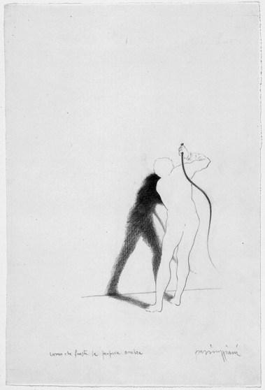 Claudio Parmiggiani, 1943, Uomo che frusta la propria ombra, 1983, matita su carta, Galleria civica di Modena