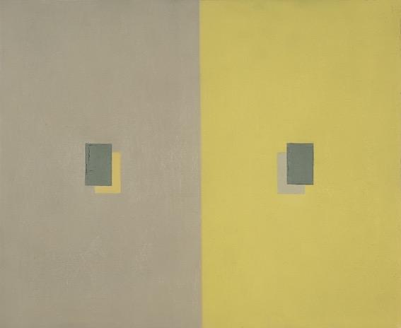 Antonio Calderara / Peso ottico giallo e grigio in rettangoli sovrapposti (1960)