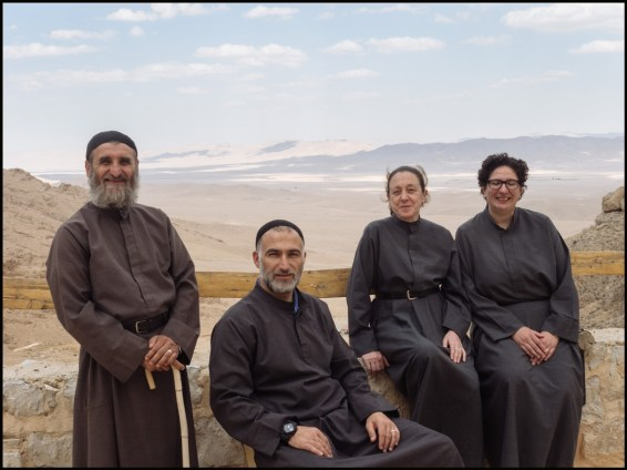 Syria, Nebek Desert. Mar-Musa Monastery. From left: Brother Butrous, Brother Jihad, Sister Huda, Sister Dima