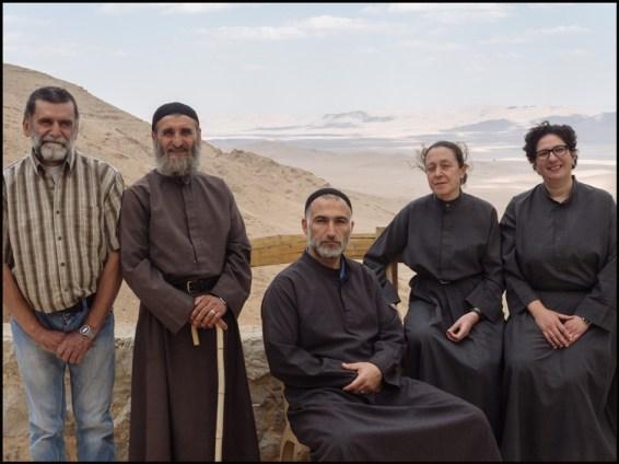 Syria, Nebek Desert. Mar-Musa Monastery. From left: Brother Butrous, Brother Jihad, Sister Huda, Sister Dima