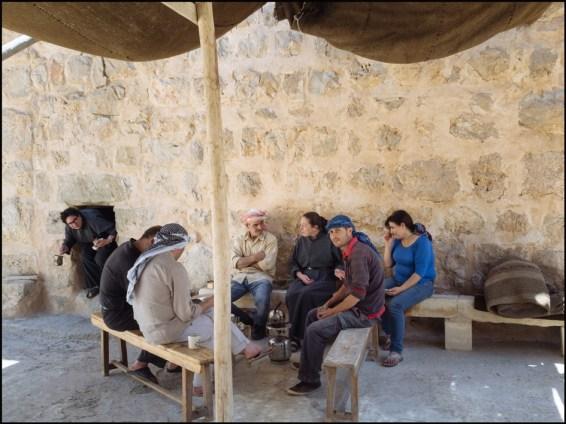 Syria, Nebek Desert. Mar-Musa Monastery. Talking under Abraham's tent