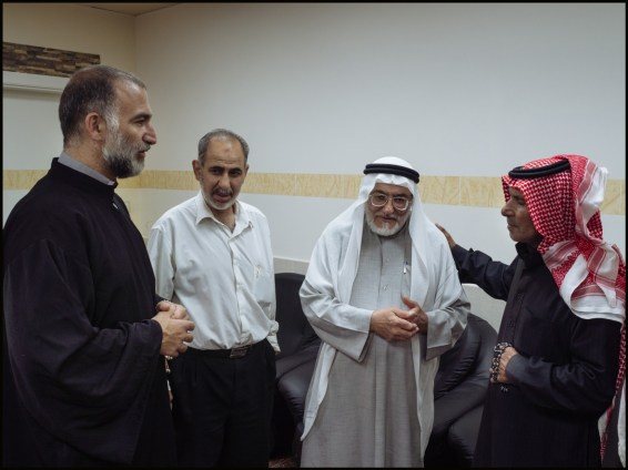 Syria, Nebek. Bother Jihad meeting the Grand Mufti and other muslim personalities in Nebek hospital