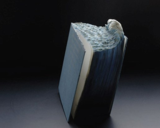 Great Wave, 2012, Altered book, pigment, 7.5 x 6 x 9
