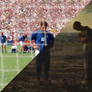 Roberto Baggio penality miss, Brazil - Italy, Pasadena, 1994 FIFA World Cup VS Jean-François Millet, L'Angélus, 1857-1859 – © Davide Trabucco, Confórmi