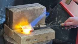 Melting silver in a crucible