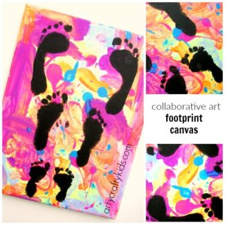 A unique art idea for kids. Siblings work together creating the canvas and add their footprints to make a special keepsake and gorgeous piece of kid art!
