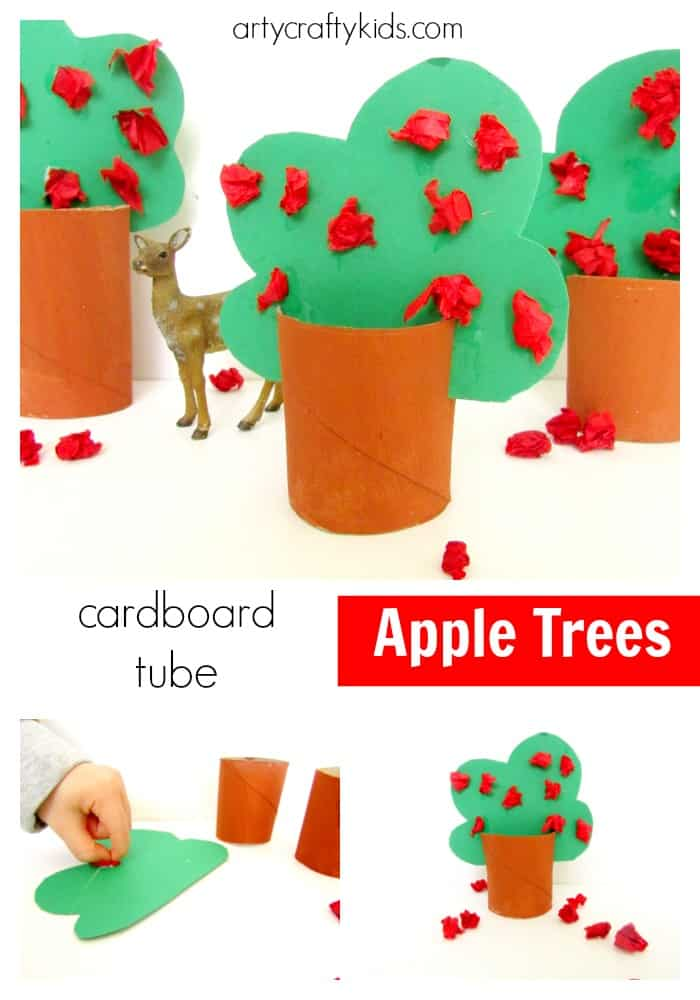 Arty Crafty Kids - Craft - Craft Ideas for Kids - Cardboard Tube Apple Trees