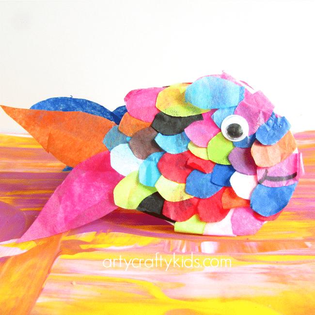 Tissue Paper Rainbow Fish