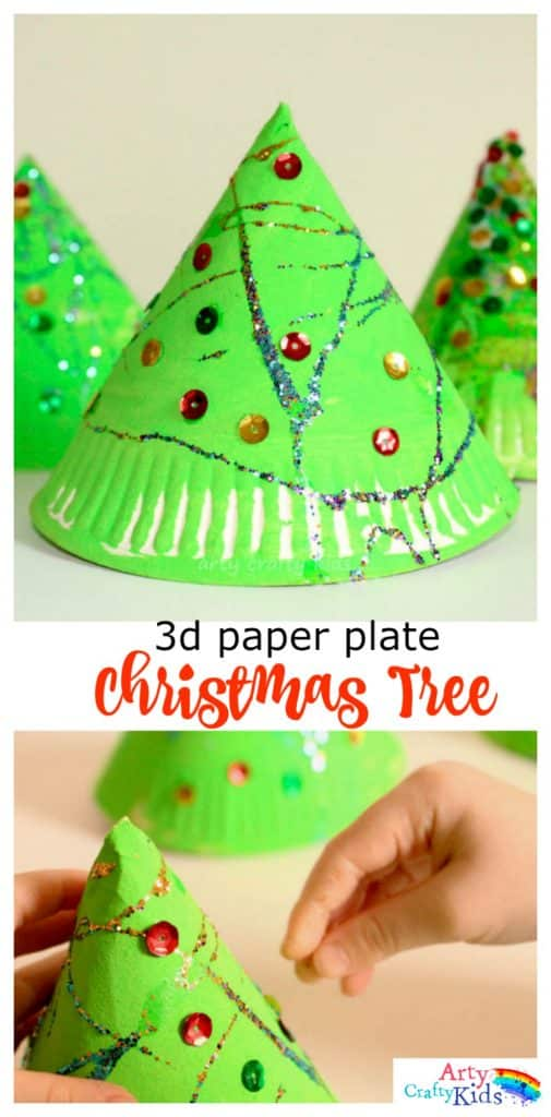 Super fun 3d paper plate christmas tree craft for Free christmas crafts for kids