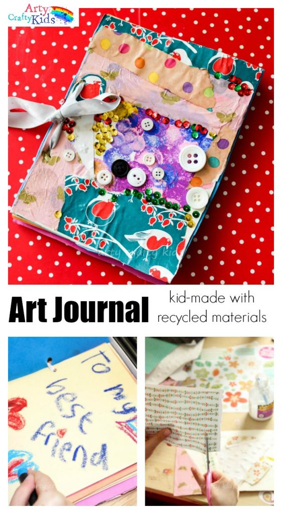 DIY Art Journal - Using recycled materials, kids can make their own Art Journals! This is a super Kid Gift idea for Christmas, Birthday's or 'just because' occassions and will inspire creativity!