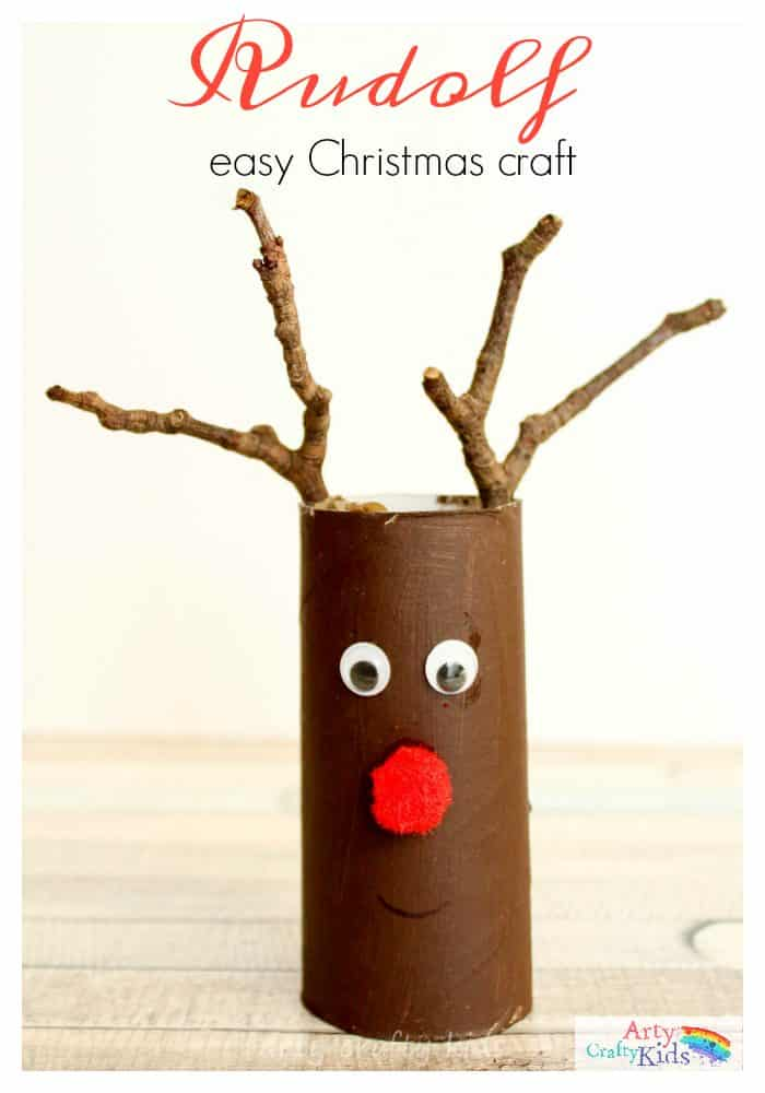 Easy Paper Tube Rudolf Christmas Craft- the perfect craft for toddlers and preschoolers! they will love using their collection of twigs to help transform their paper rolls into reindeers.