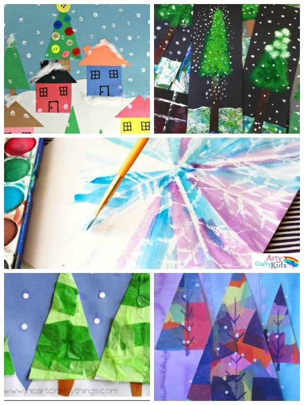 16 Winter Art Projects for Kids - A selection of gorgous snowy Winter art projects for kids using various process art tehniques to keep the kids busy this Winter.
