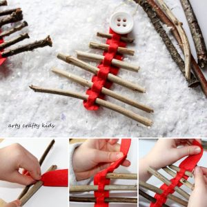 Arty Crafty Kids | Seasonal | Twig Christmas Tree Ornament | Our rustic Twig Christmas Tree Ornament is kid-made and inspired by Julia Donaldson's Stick Man. An easy Christmas craft for kids, that's great fine motor practice.
