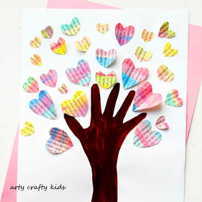 Handprint Valentine Heart Tree Arty Crafty Kids