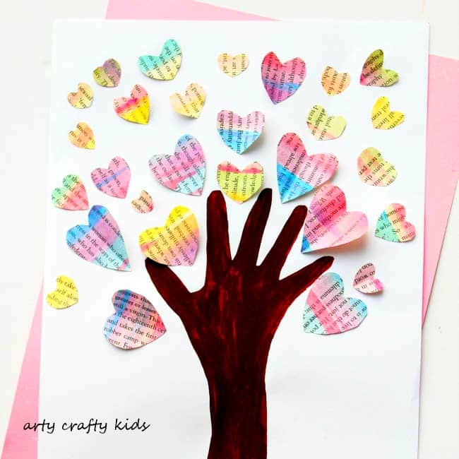 Arty Crafty Kids - Art - Valentines - Handprint Valentine Heart Tree