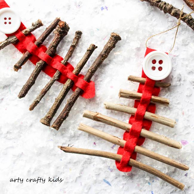 Arty Crafty Kids | Seasonal | Christmas Nature Craft | Rustic Twig Christmas Tree Ornament