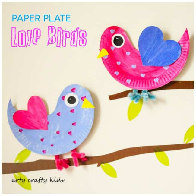 Paper Plate Love Birds Feature - Arty Crafty Kids