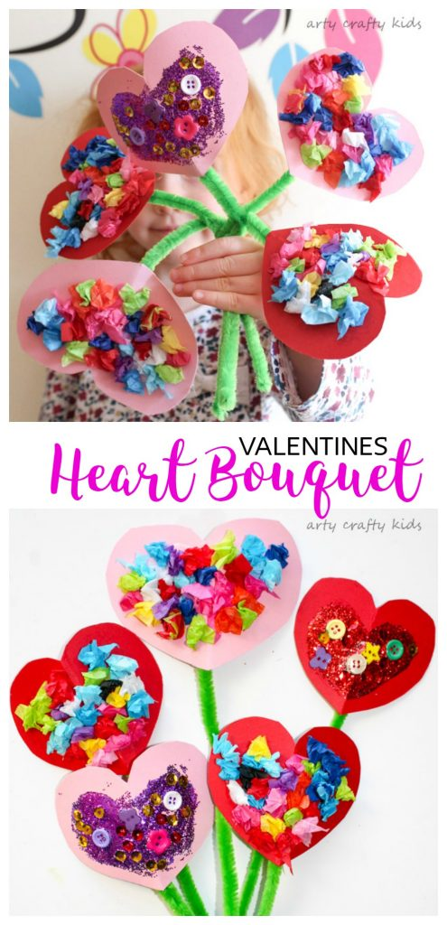 valentine art and craft ideas toddler valentines bouquet arty crafty 7283