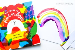 "Arty Crafty Kids | Book-Club | Rainbow Scrape Painting | Based on the gorgeous ""My Color Rainbow"" toddlers and preschoolers can create their own rainbows using the scrape painting technique."