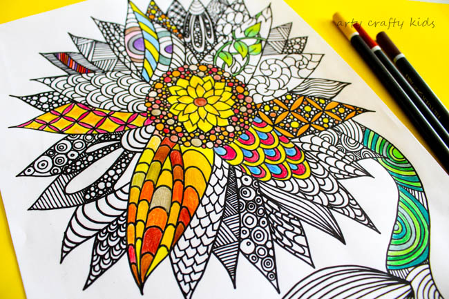 Arty Crafty Kids   Coloring Pages   Sunflower Coloring Page   Beautiful and detailed sunflower coloring page for adults and kids