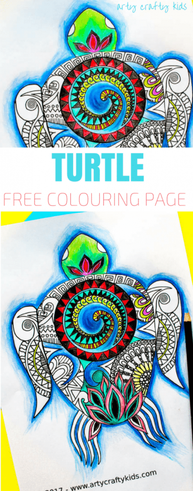 Arty Crafty Kids | Free Coloring Page for Adults and Kids | Moana Inspired Turtle Coloring Page