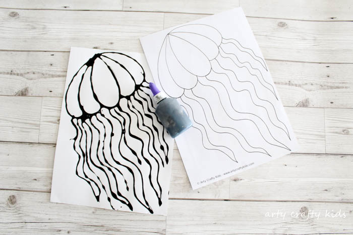 Arty Crafty Kids   Art   Black Glue Jellyfish Art   A fun under the sea art project for kids using black glue resist and watercolours to create a gorgeous Jellyfish