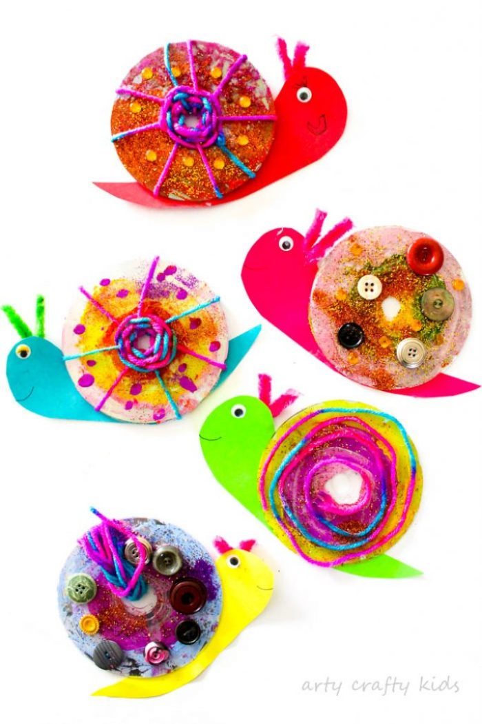 Arty Crafty Kids   Craft   Easy CD Snail Craft   A super fun and funky snail craft for kids!