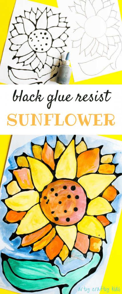 Arty Crafty Kids   Art   Black Glue Sunflower Art   A beautiful black glue sunflower art project for kids. Perfect for summer crafting.