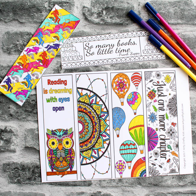 Beautiful Coloring Bookmarks - Arty Crafty Kids