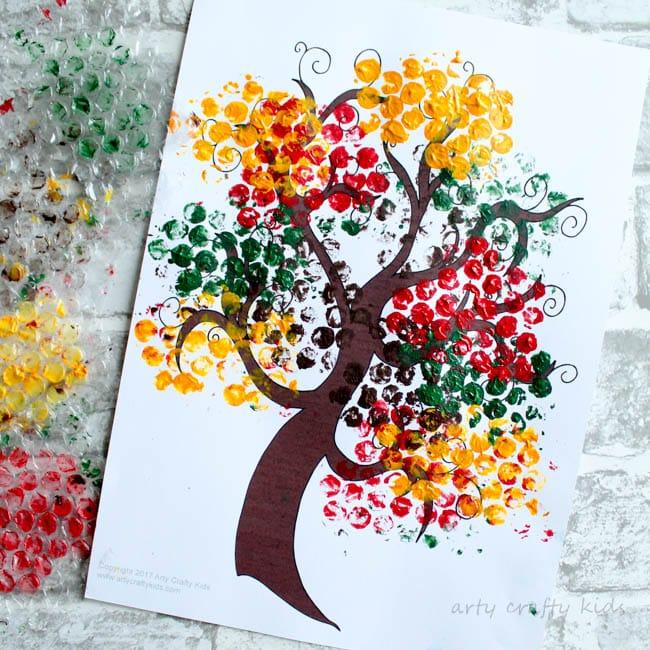 Bubble Wrap Autumn Tree Craft Arty Crafty Kids