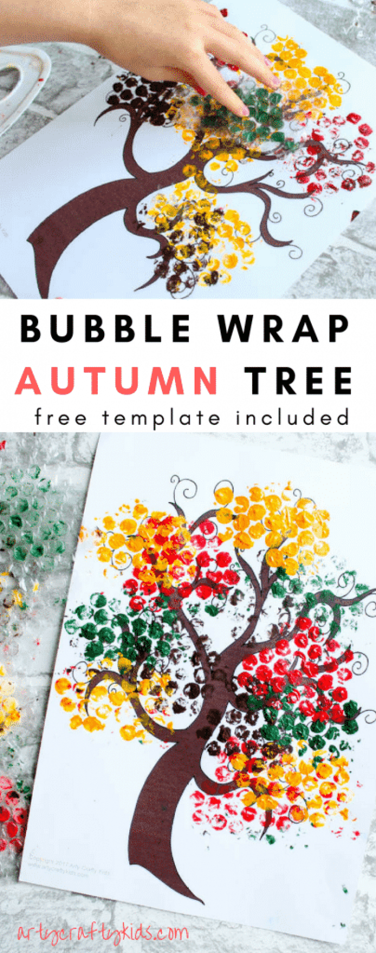 Arty Crafty Kids | Seasonal | Autumn Crafts for Kids | Bubble Wrap Autumn Tree Craft | A fun and simple Autumn Tree Craft for Kids, with a free tree template included for download!