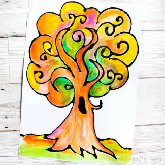 Arty Crafty Kids | Art | Autumn Crafts for Kids | Black Glue Autumn Tree | A beautiful Autumn art project for kids that explores autumn colors within a black glue resist medium. #Autumncraftsforkids #kidscrafts #falltrees #easyartideas