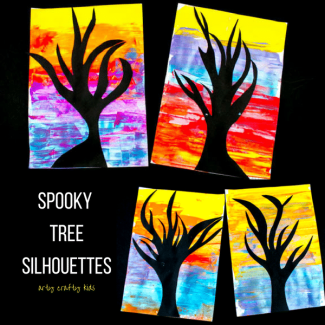 Arty Crafty Kids | Art | Spooky Tree Silhouette Painting | A super fun and easy art project for kids using the scrape painting technique!