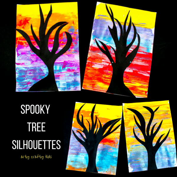 Arty Crafty Kids   Art   Spooky Tree Silhouette Painting   A super fun and easy art project for kids using the scrape painting technique!