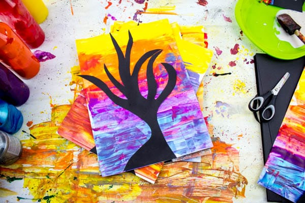 Arty Crafty Kids   Art   Spooky Tree Silhouette Spooky Tree Silhouette Kids Art Project   A super fun and easy art project for kids using the scrape painting technique!