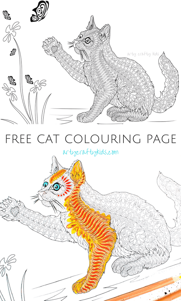 Arty Crafty Kids | Colorin Pages | Free Cat Coloring Page for Adults #coloringpages #freecoloringpages