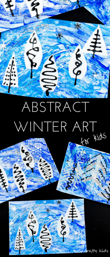 Arty Crafty Kids | Art | Winter Crafts for Kids | Abstract Winter Art for Kids - A fun painting idea using multiple mediums to create a textured Winter scene #wintercraftsforkids #wintercrafts #wintertree #artforkids