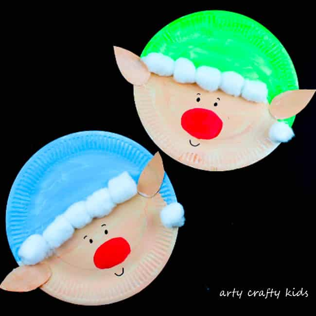 Paper Plate Christmas Elf Craft & Paper Plate Santa Claus - Arty Crafty Kids