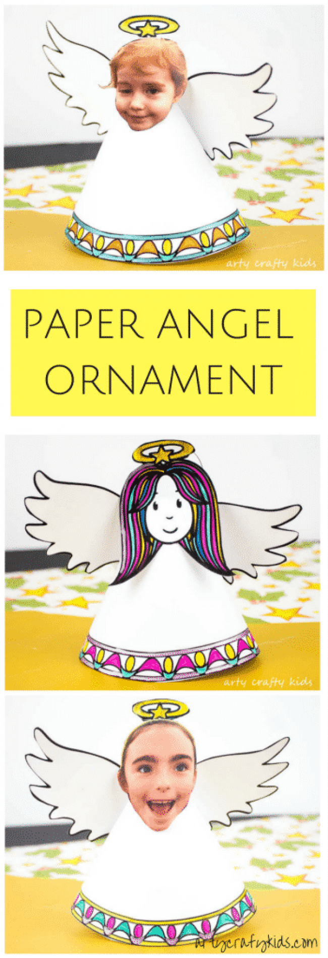 Arty Crafty Kids   Christmas Crafts for Kids   Adorable Paper Angel Christmas Ornament for Kids, includes a free template for kids to design, colour and cut! #christmascraft #papercraft #christmascraftsforkids #christmasornament #freedownload