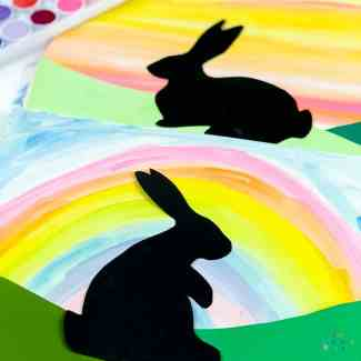 Arty Crafty Kids | Easter Art for Kids | Bunny Silhouette Easter art for kids, with a free template included #craftsforkids #kidscrafts #eastercraftsforkids