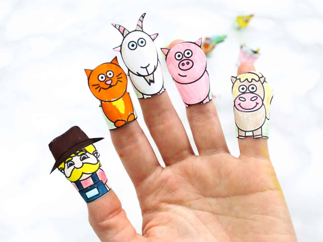 Printable Farm Animal Finger Puppets