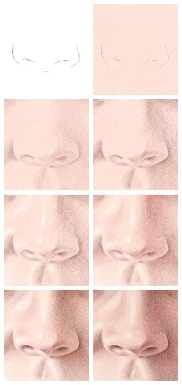 Color Pencil Portraits - How to Draw the Nose