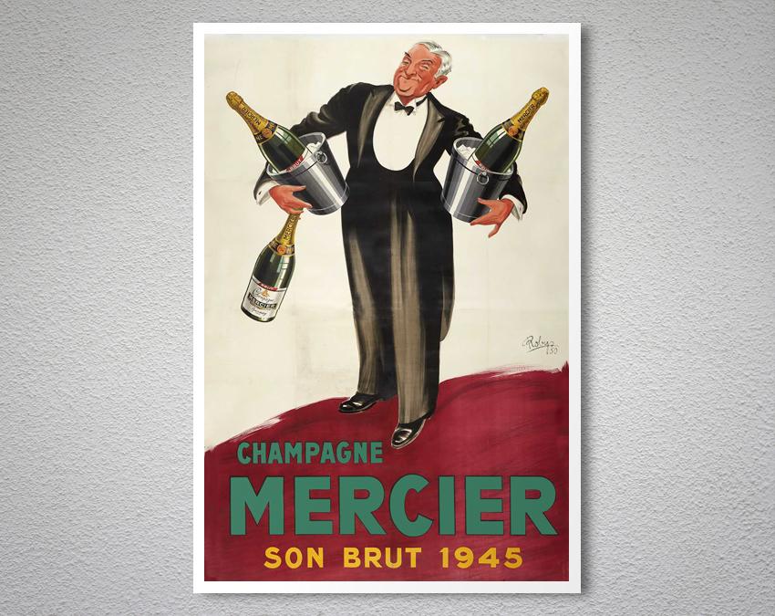 champagne mercier vintage food drink poster