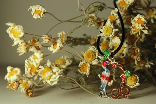 Armenian Handmade Enamel Pendant Letter R on flowers