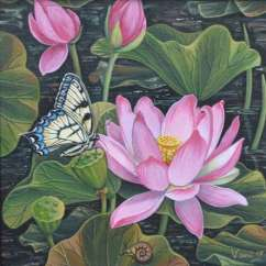 Wall Painting For Living Room India Gray Yellow Ideas Lotus Pond By Artist Vani Chawla | Acrylic Paintings